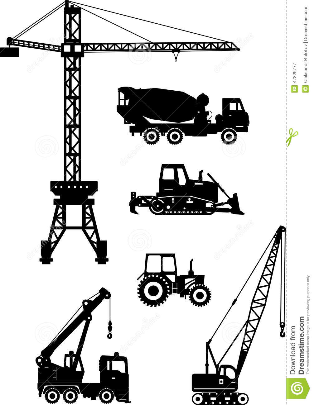 Set Of Heavy Construction Machines Icons Vector Illustration Stock