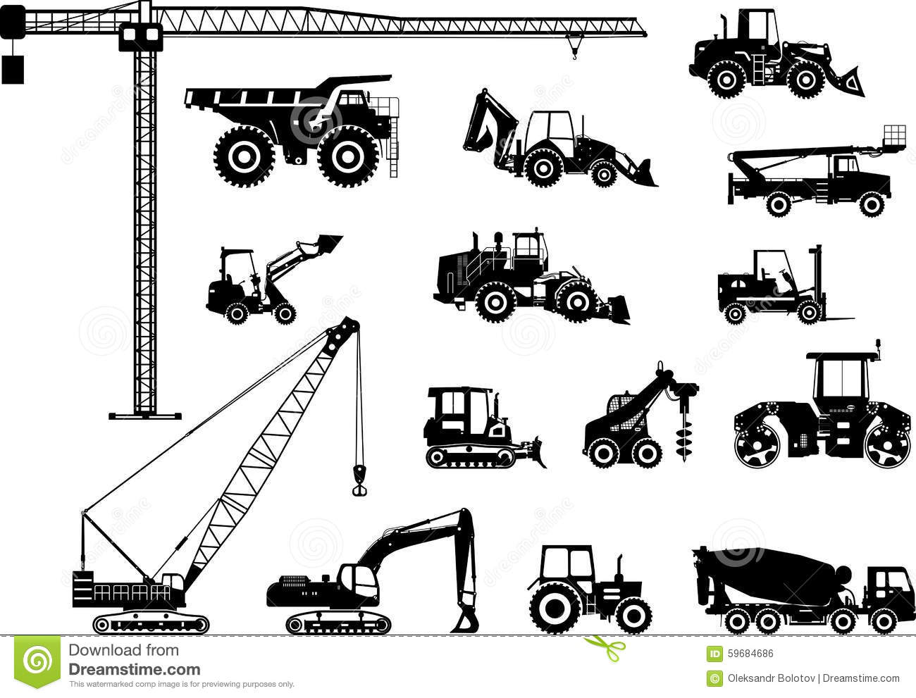 Heavy Equipment Silhouette : Set of heavy construction machines icons vector stock