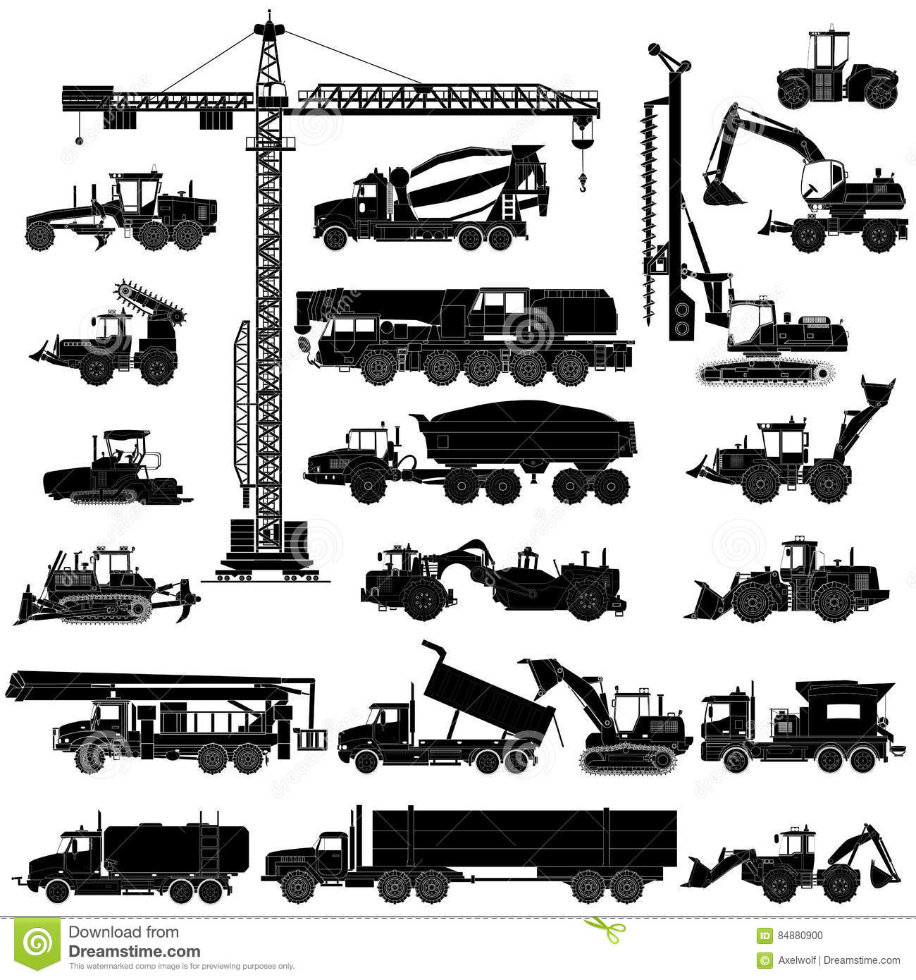 Set Of Heavy Construction Machines Silhouettes Icons Isolated
