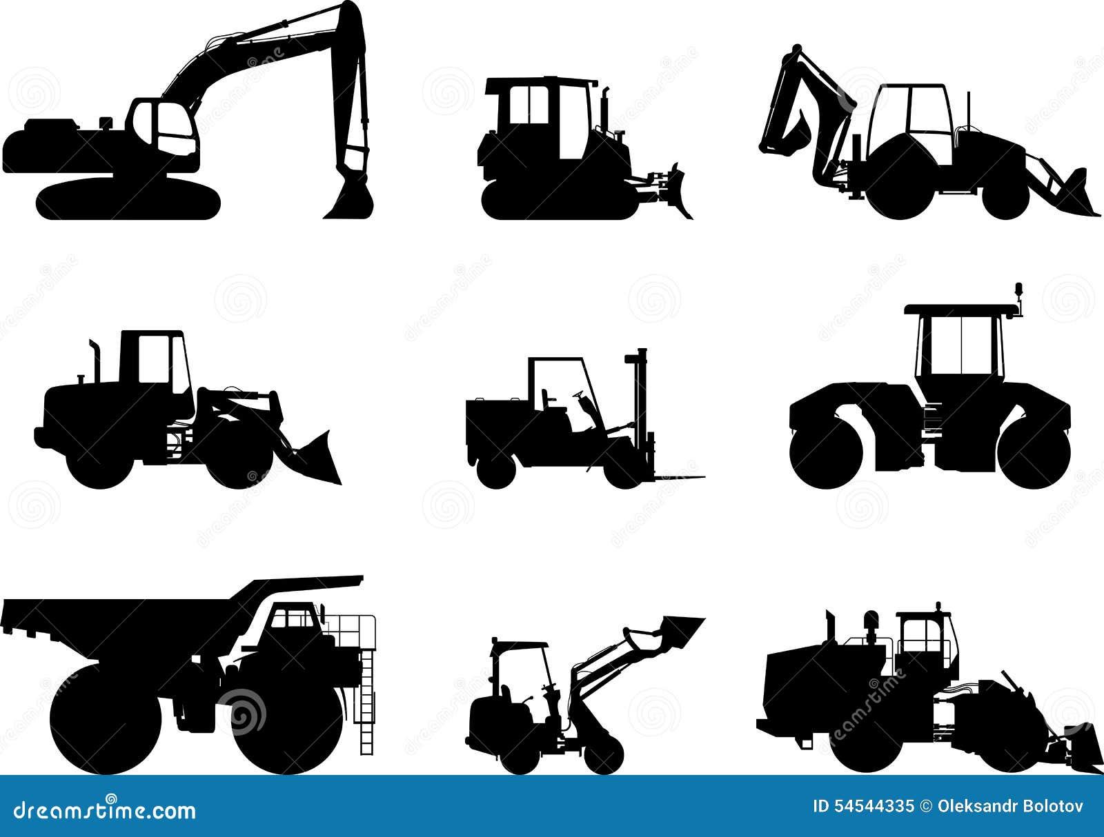 Heavy Equipment Silhouette : Set of heavy construction machines vector stock
