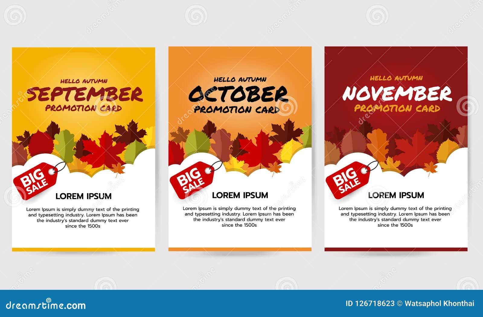 Set of hello autumn banner with leaves, september, october, november promotion card. Big sale banner template. Flat vector illustr