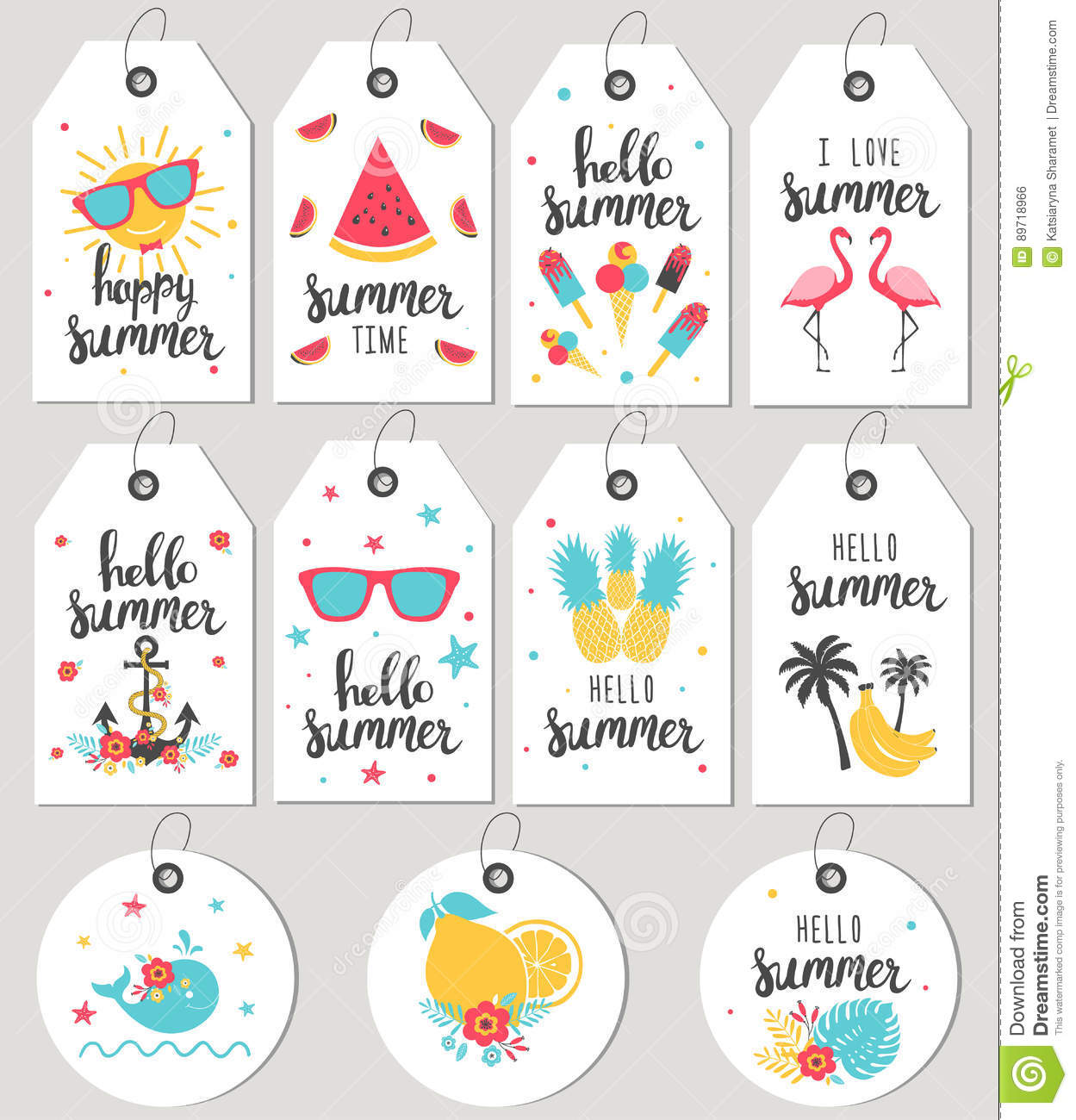 Set Hello Summer. Gift Tags And Cards. Stock Vector - Image: 89718966