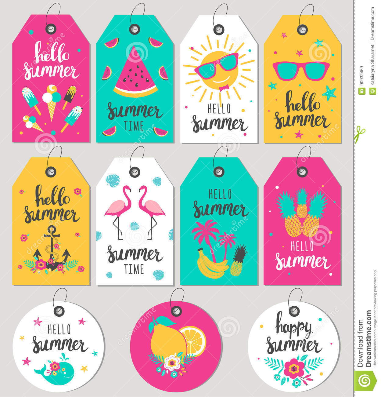 Set Hello Summer. Gift Tags And Cards. Stock Vector - Image: 90932469