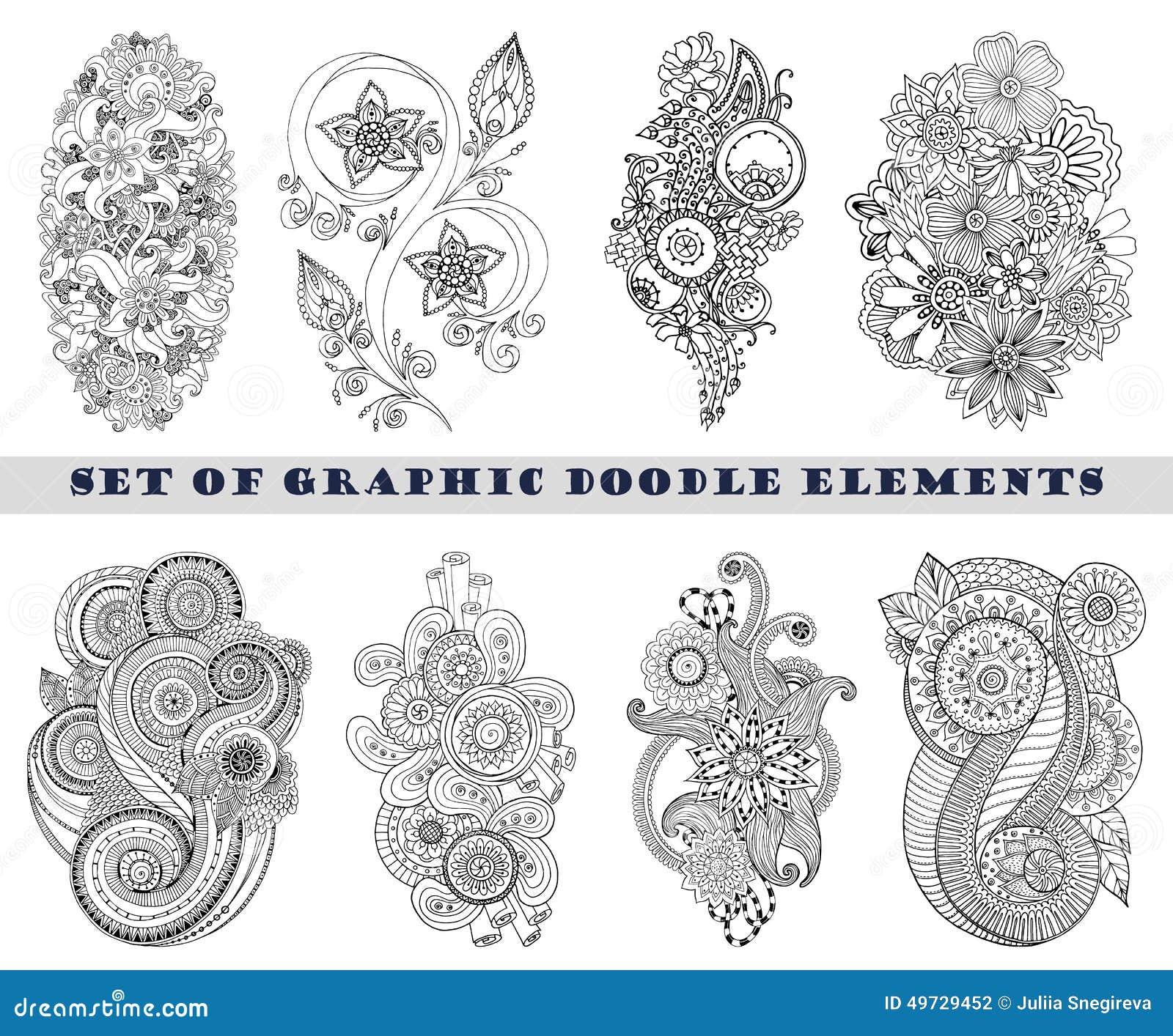 Set Of Henna Paisley Mehndi Doodle Element. Stock Vector
