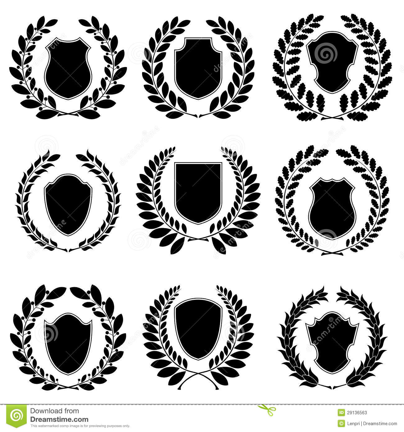 set of heraldic emblems stock vector illustration of element 29136563