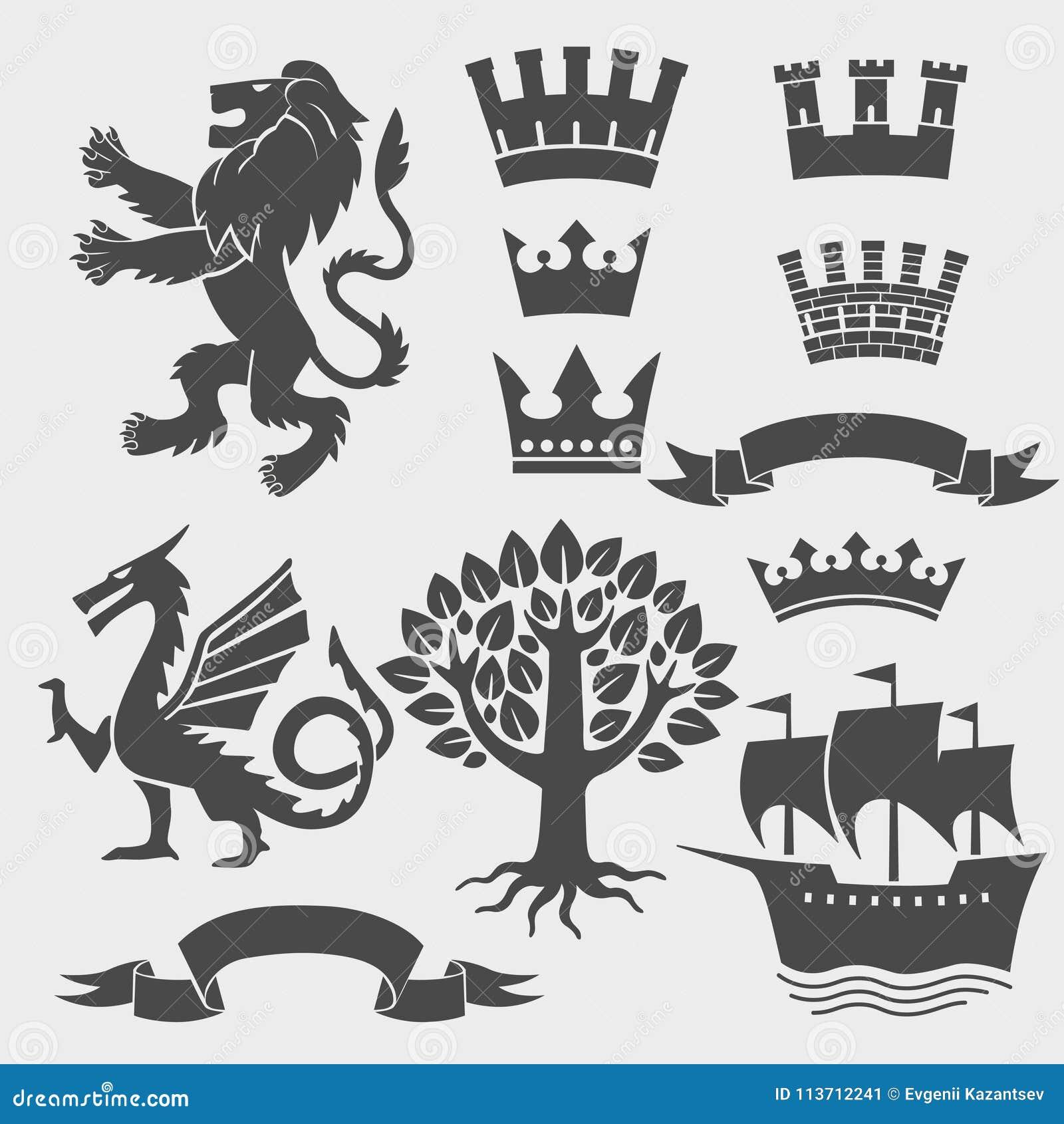 Set Of Heraldic Symbols Crown Lion Dragon Ribbon Tree