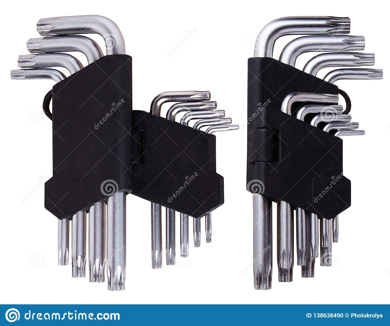 Set of Hex keys Allen wrenches in black plastic holder on a white background.