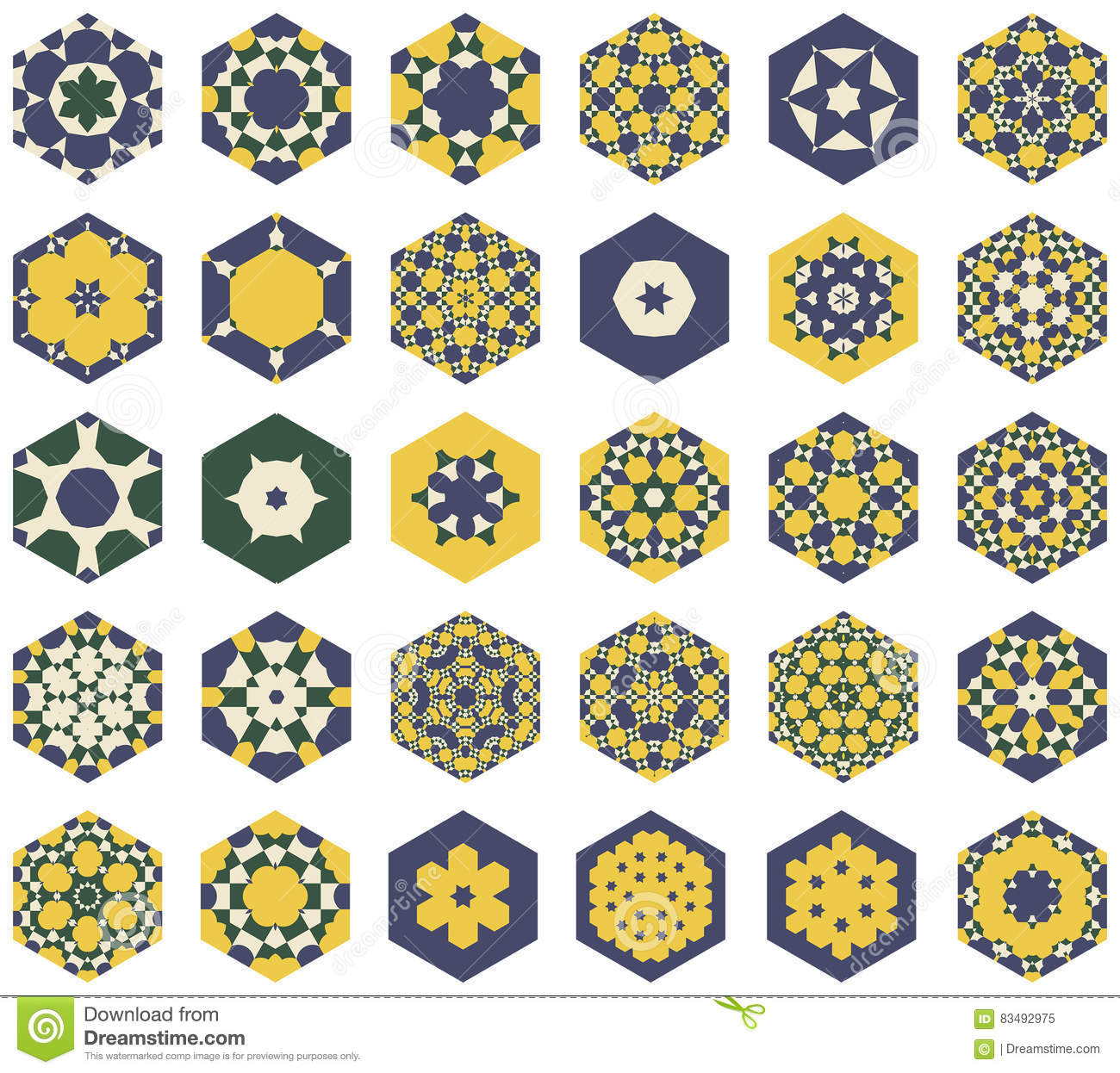 Set of hexagonal colored ornaments in the Moorish style