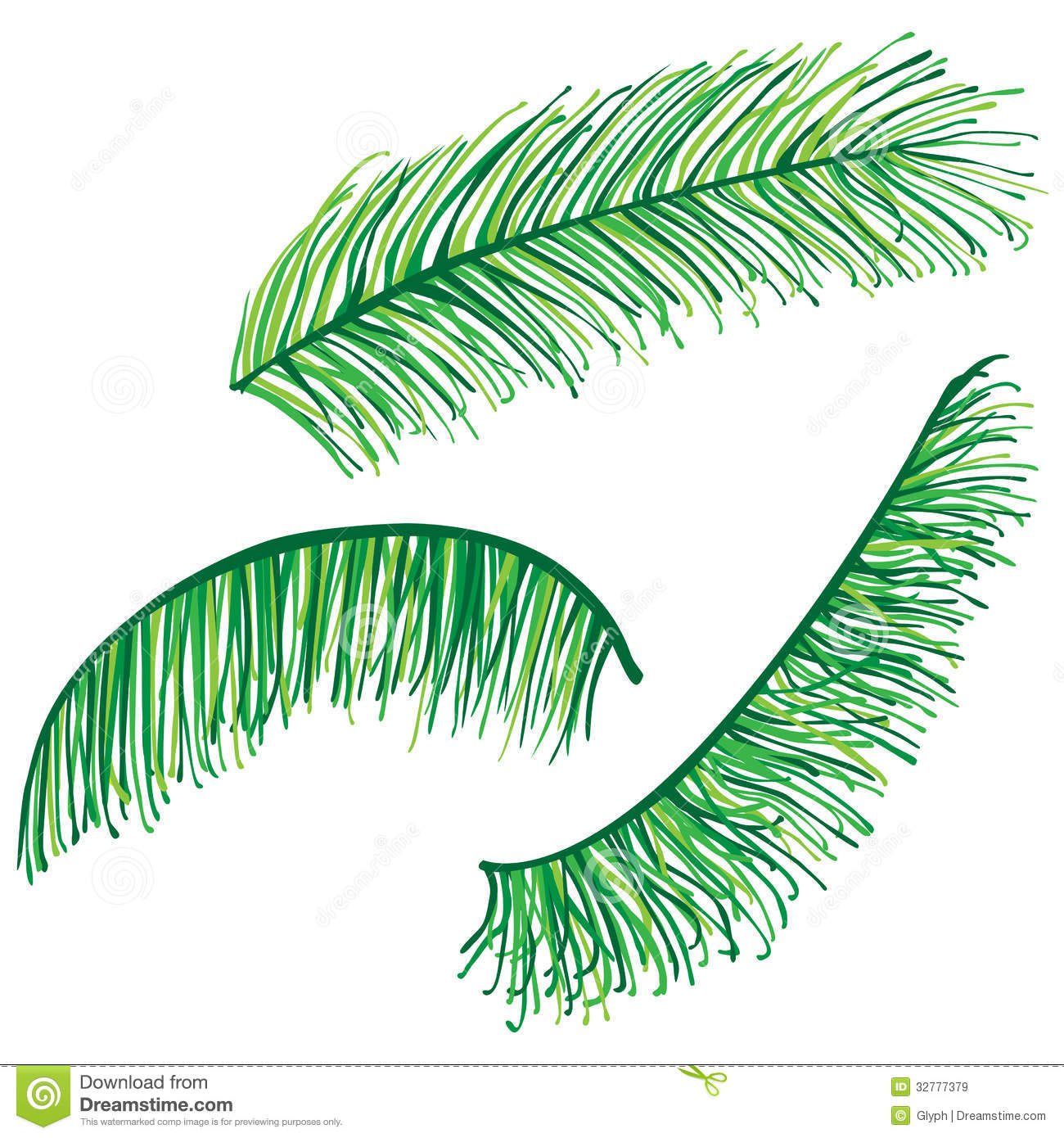set of highly detailed palm leaves stock vector illustration of