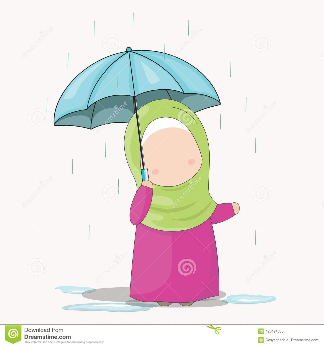 Illustration of five little cute girls with hijab under the rain with an blue umbrella cute cartoon girls set without face vector illustration