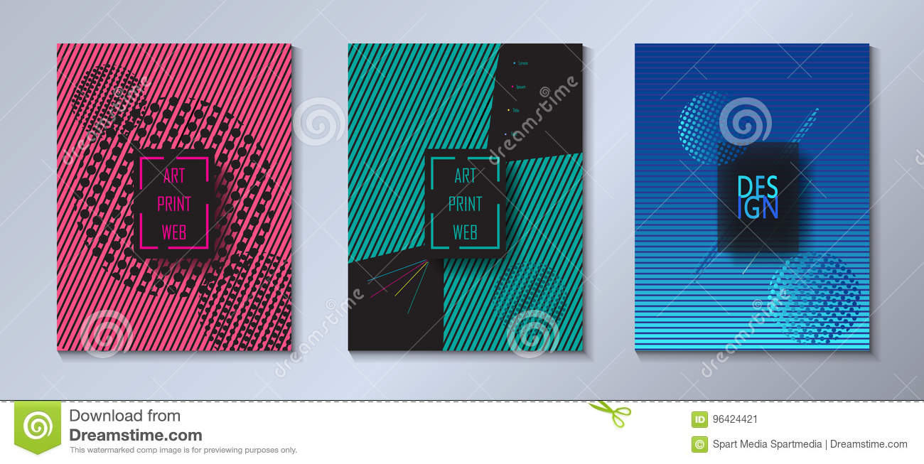 Set Hipster Dynamic Brochure Covers Layout Stock Vector
