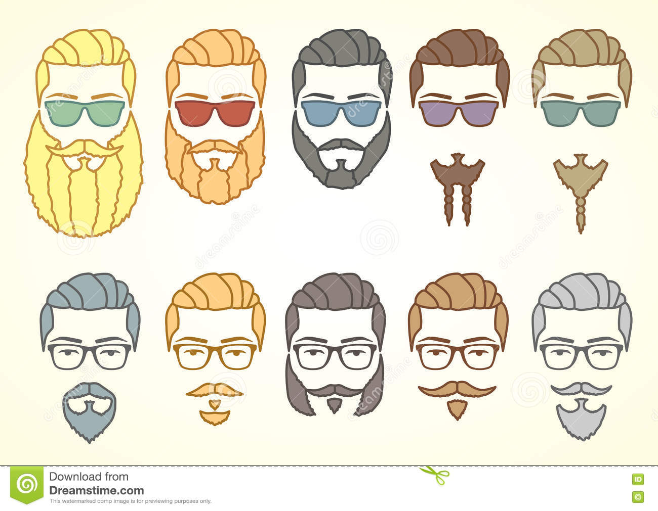 Awesome Set Of Hipster Face With Mustaches And Curly Beards Stock Vector Schematic Wiring Diagrams Amerangerunnerswayorg