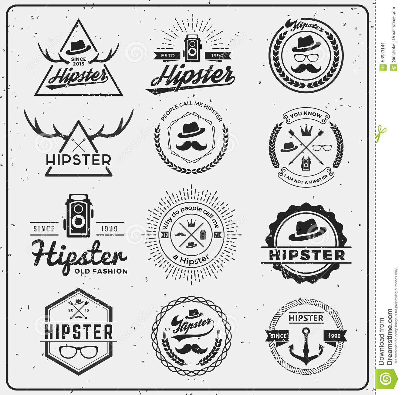 Set of hipster insignia logo design stock vector for T shirt logos and design