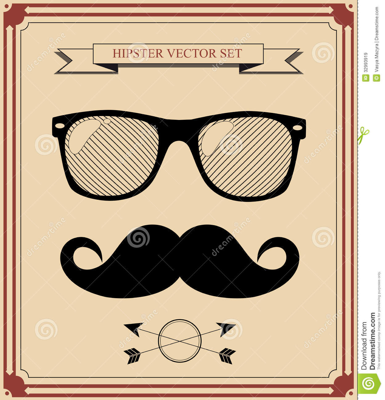 Set Of Hipster Man Style Graphic Elements Illust Royalty Free Stock Images Image 32993919