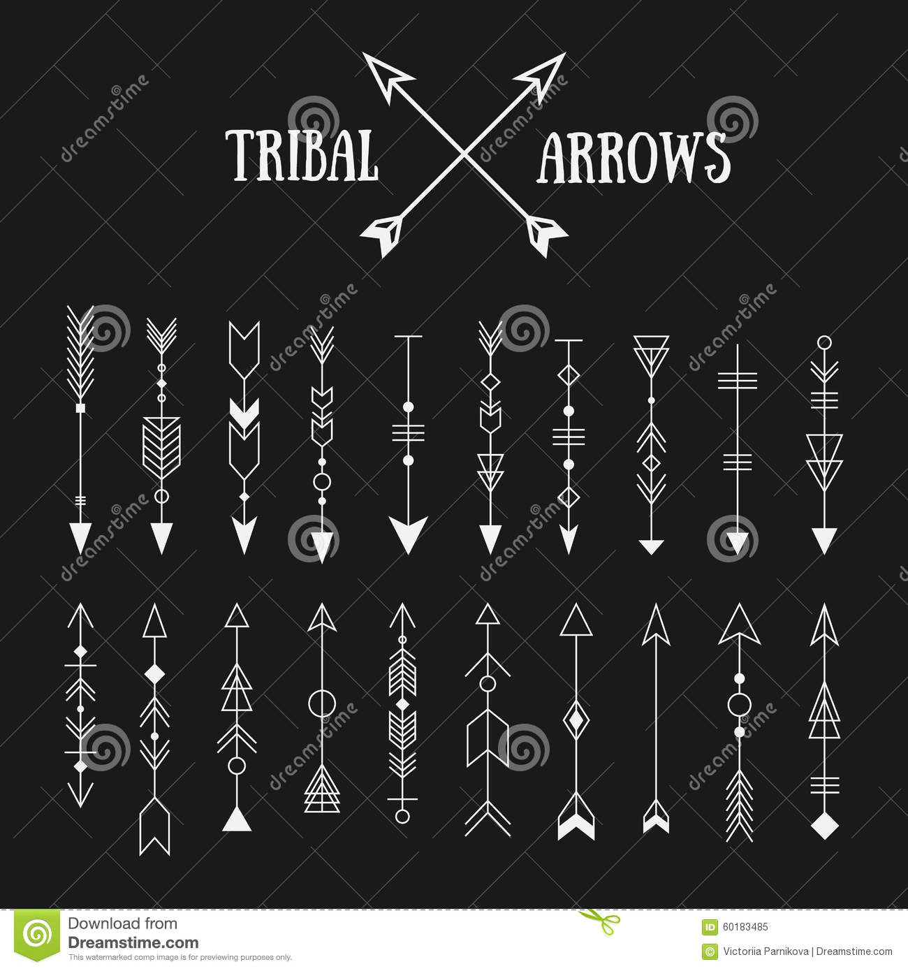Set of hipster tribal arrows on chalkboard background line vint stock vector image 60183485 - Tatouage tribal signification ...
