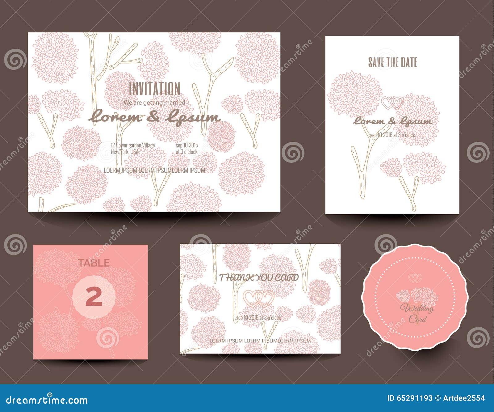 Set Hochzeitskarten Danke Zu Kardieren Vektor Vektor Abbildung