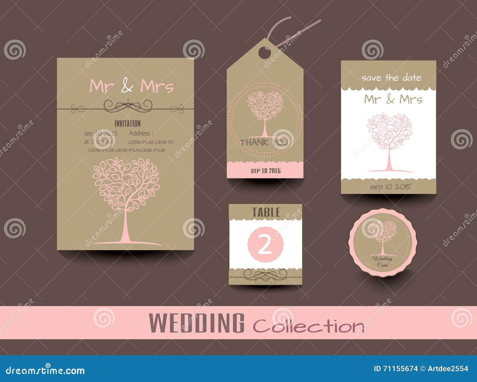Set Hochzeitskarten Hochzeitseinladungen Danke Zu Kardieren Vektor