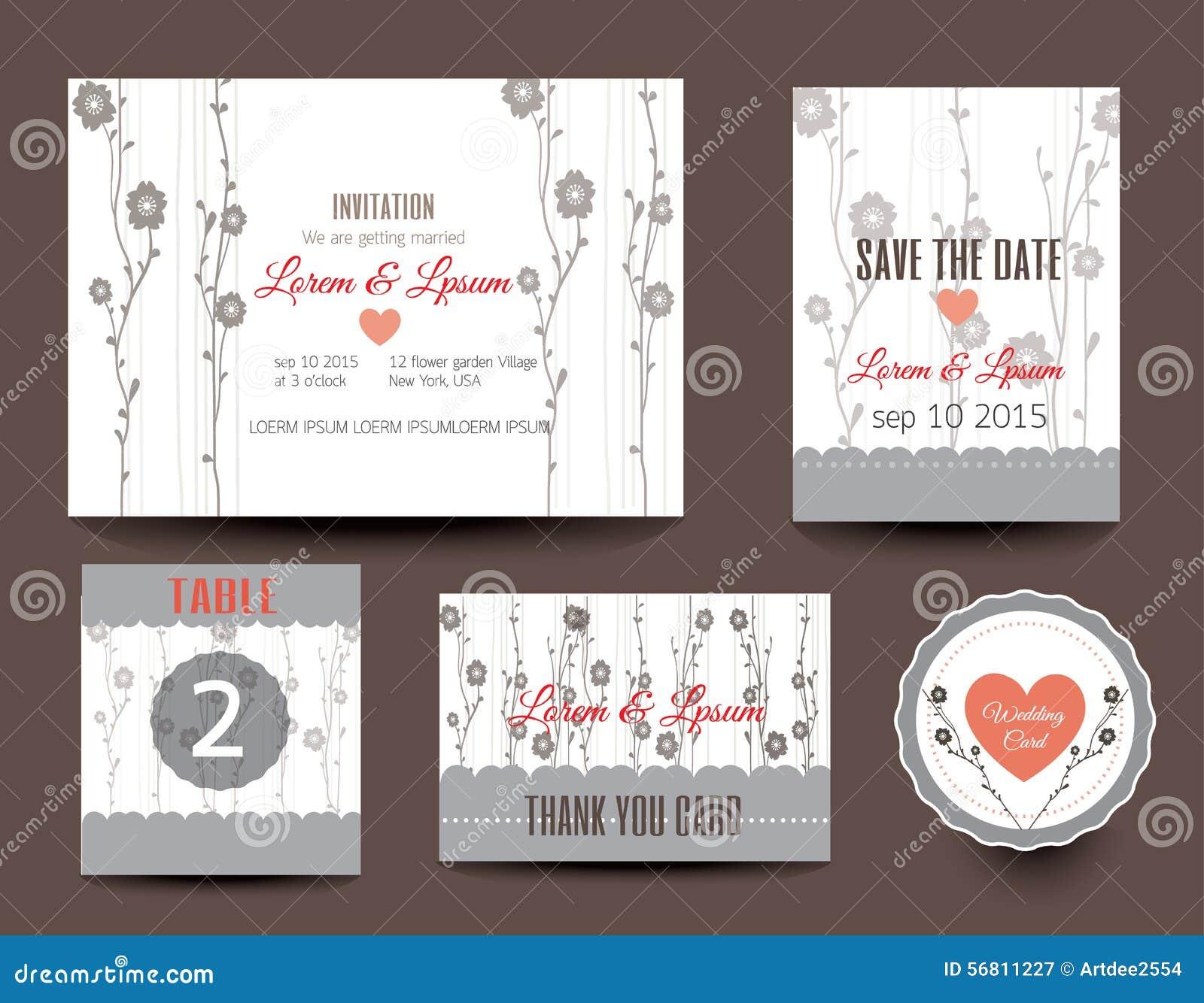 Set Hochzeitskarten Hochzeitseinladungen Danke Zu Kardieren Zu