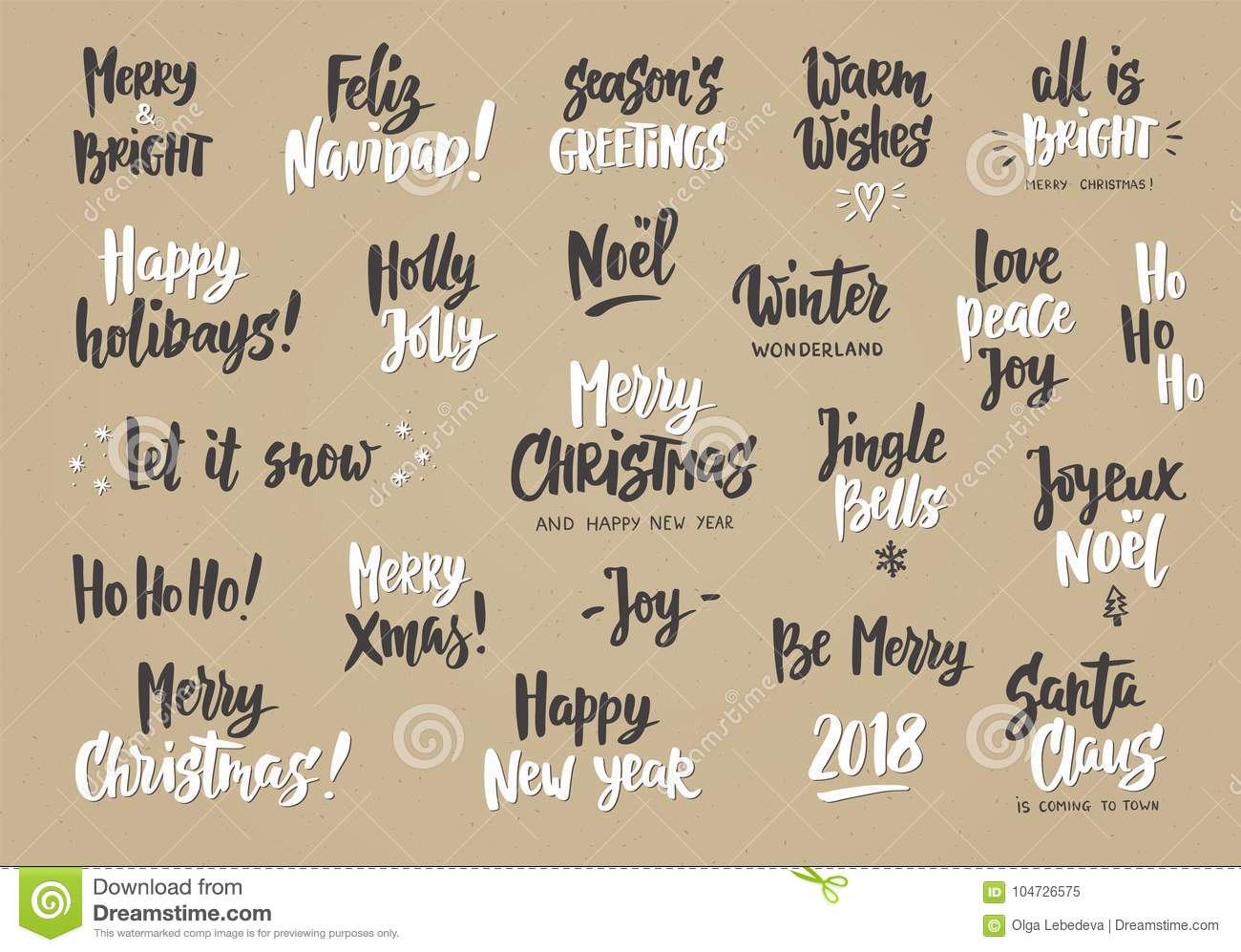 Set Of Holiday Greeting Quotes And Wishes Hand Drawn Text Stock