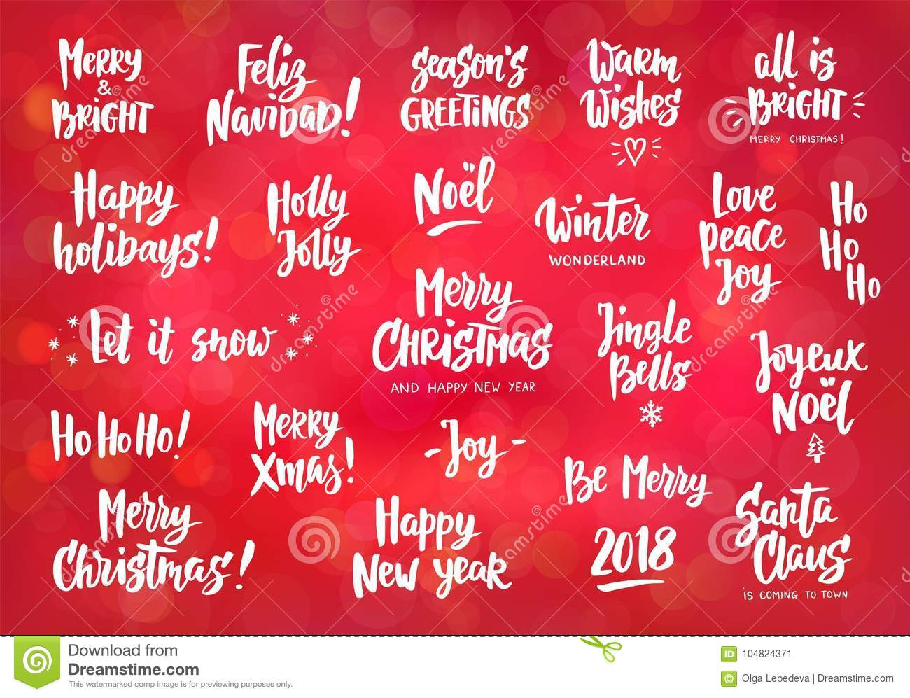 Set Of Holiday Greeting Quotes And Wishes. Hand Drawn Text. Stock ...