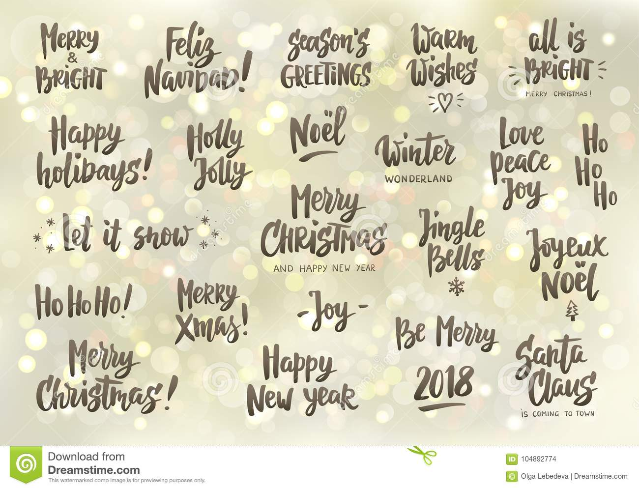 Set Of Holiday Greeting Quotes And Wishes. Hand Drawn Text. Great ...
