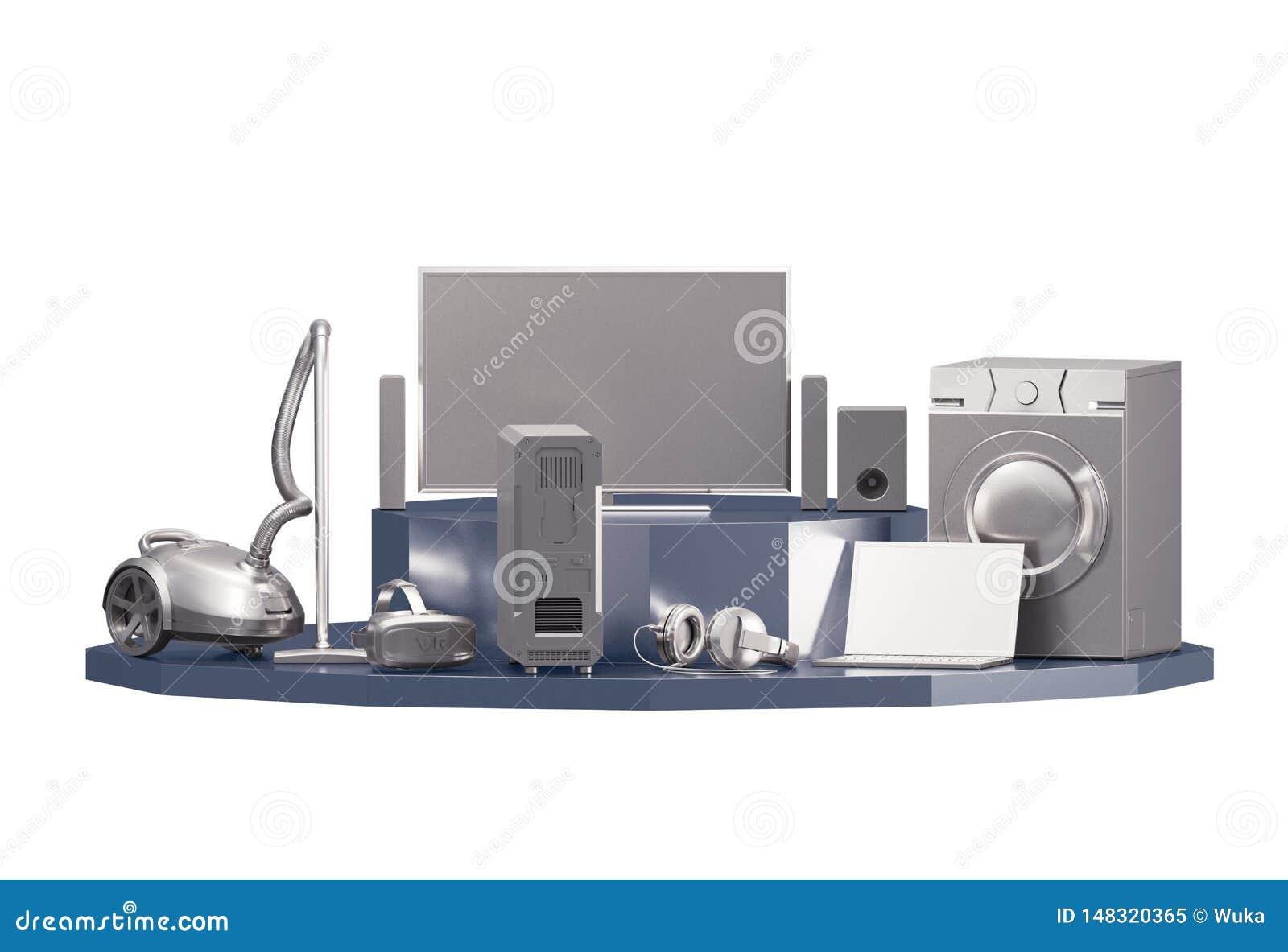 Set of Home Appliances / Electronics on White
