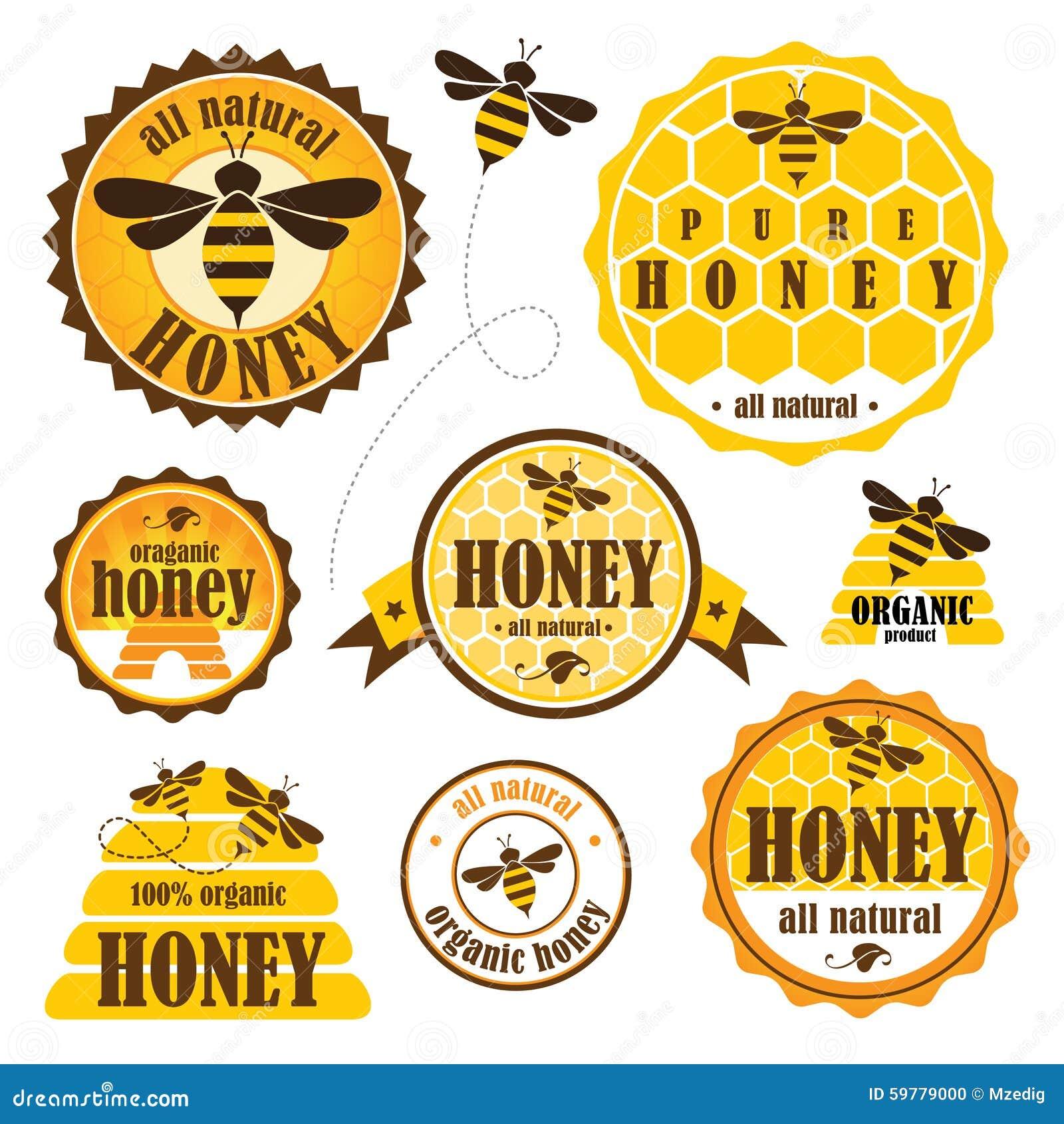 Set Of Honey Labels Stock Vector Image 59779000