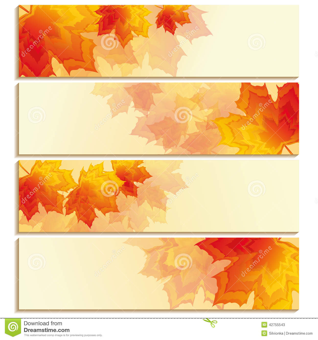 Set of horizontal banners with orange red leaf maple stock vector image 42755543 - Autumn plowing time all set for winter ...