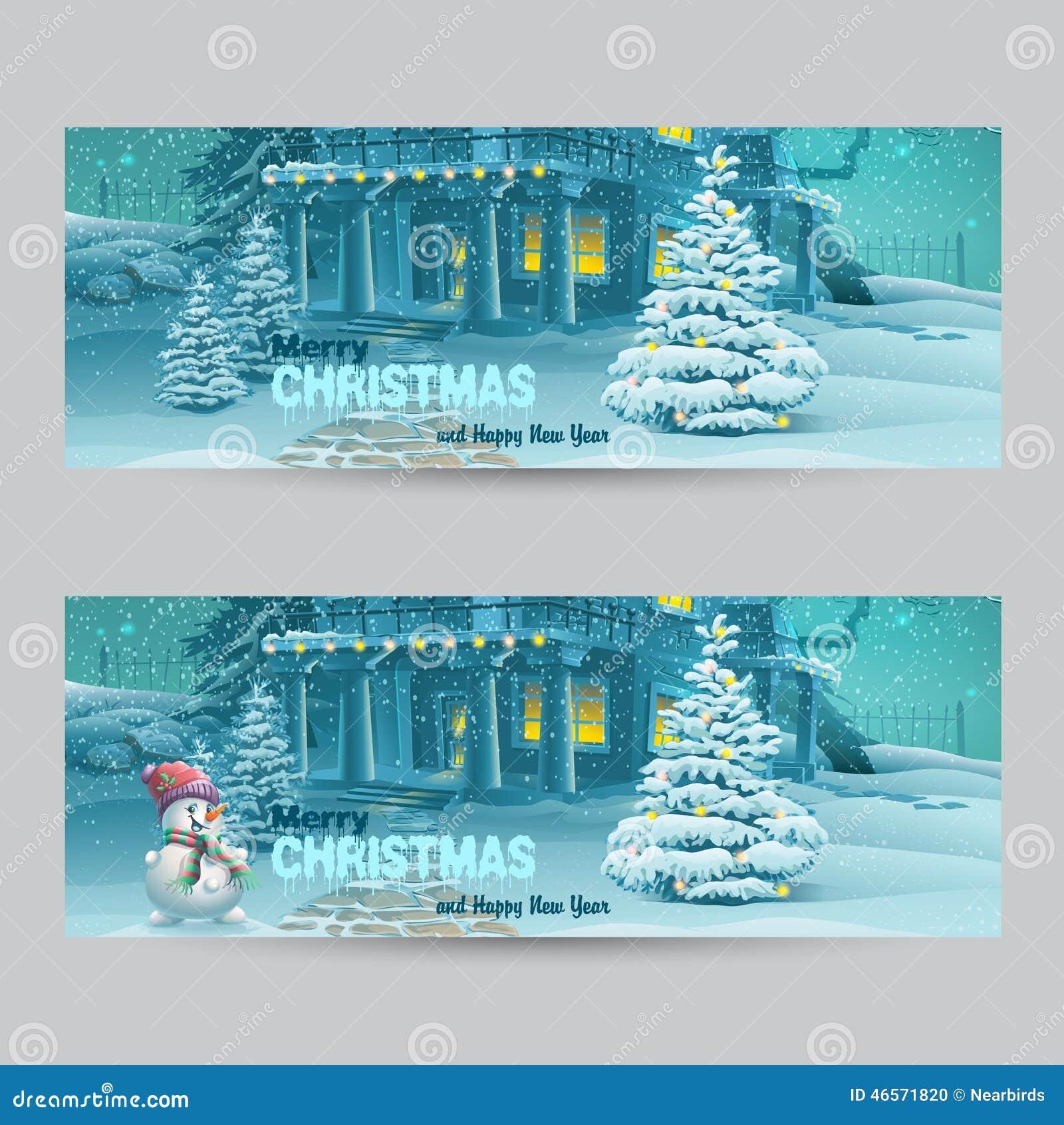 Set horyzontalni sztandary z bożymi narodzeniami i nowym rokiem z wizerunkiem śnieżna noc z bałwanem i choinkami