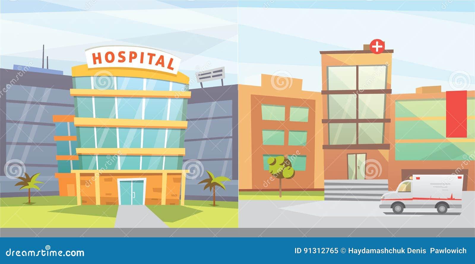 set hospital building cartoon modern vector illustration