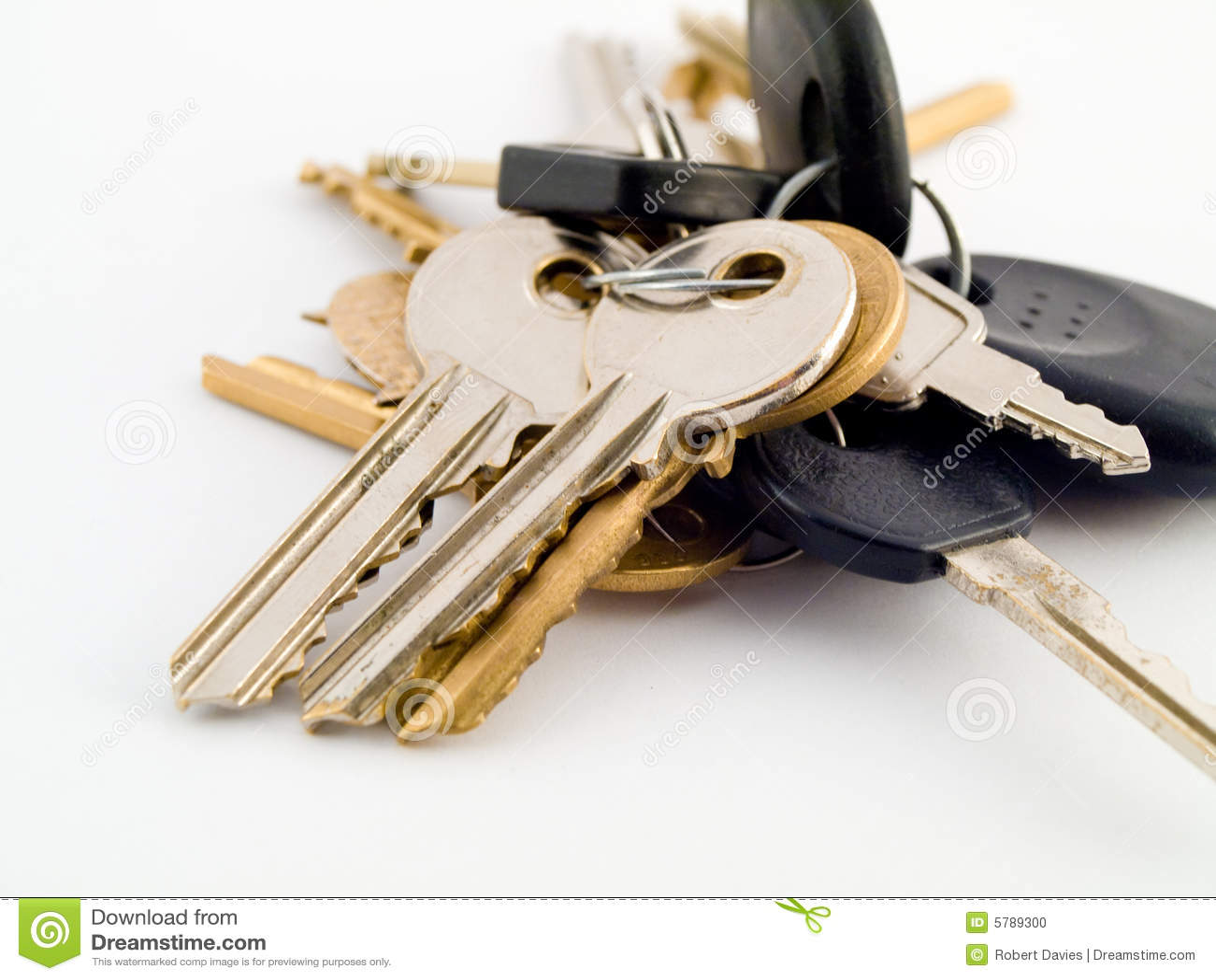Set Of House And Car Keys On White Background Stock Photo