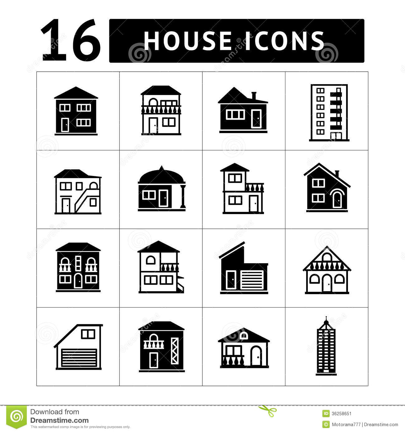 Garage And Apartment Plans Set Of House Icons Real Estate And Building Colle Stock
