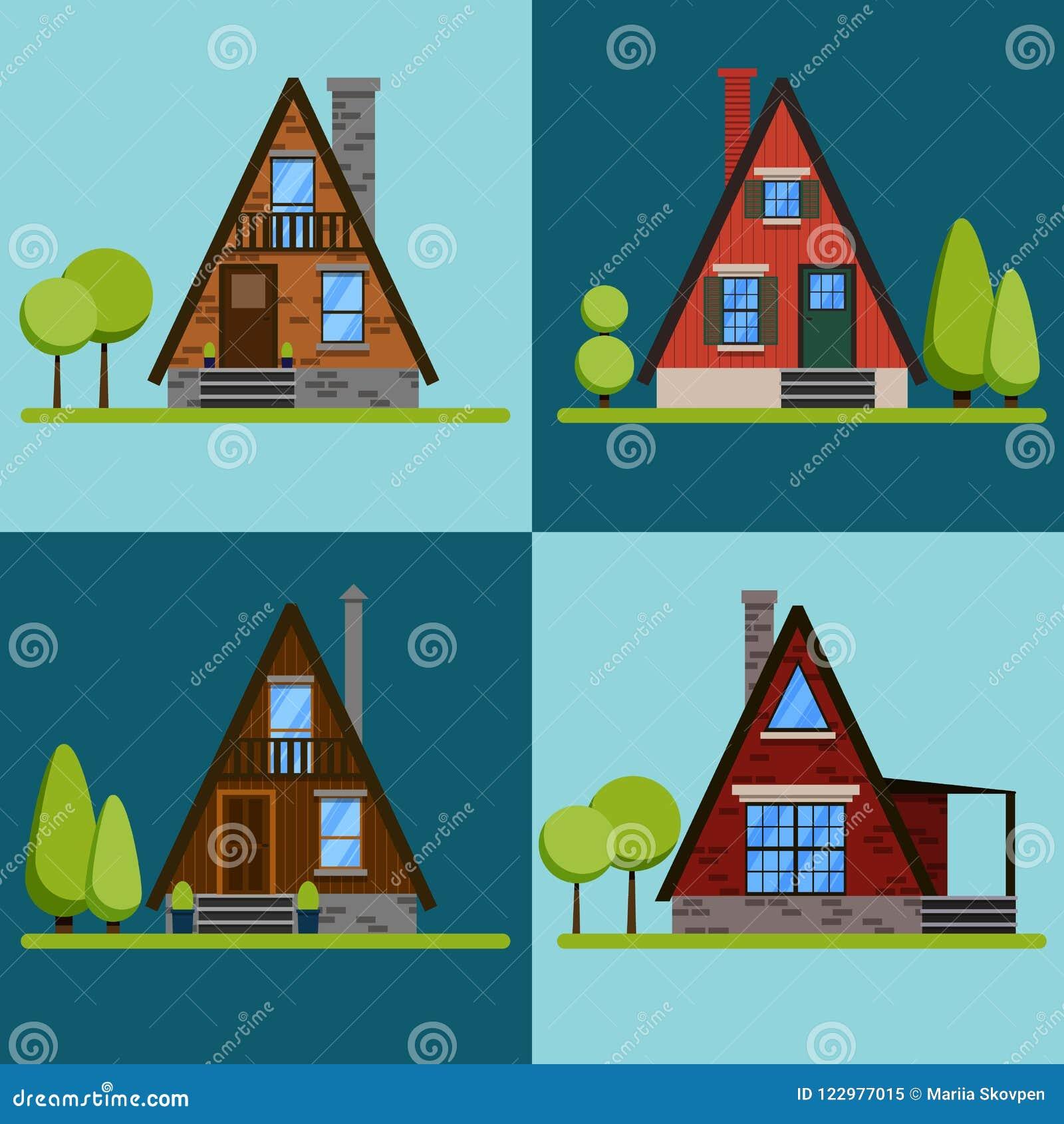 Set Of House Icons Or Symbols Triangular Brick And Wood