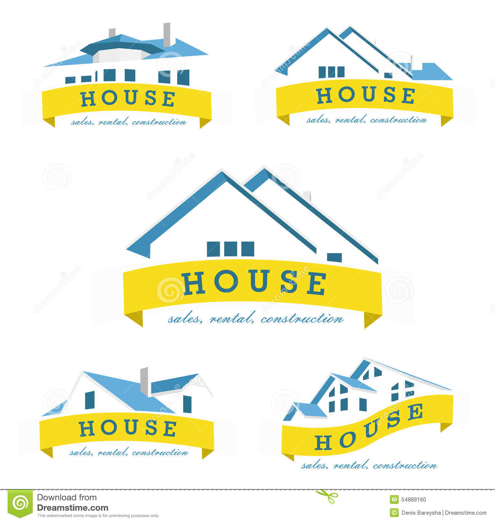 Set House Logo Design Template Stock Vector Image 54889160