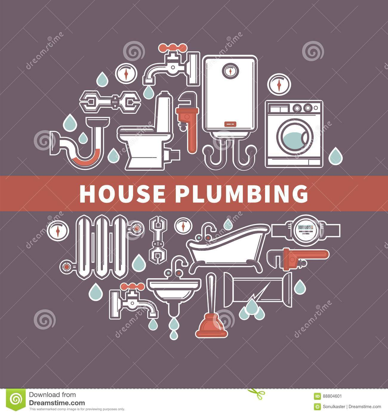 Set Of House Plumbing With Drops Water Vector Illustration Stock Piping Diagram
