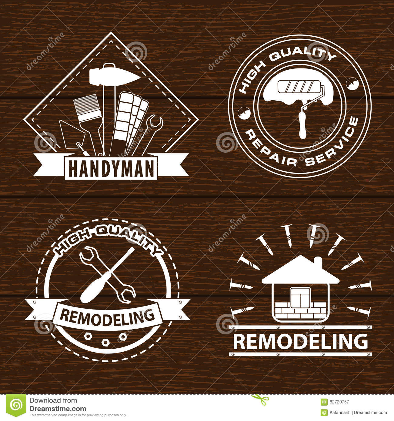 Set Of House Renovation Labels And Home Remodeling Logos