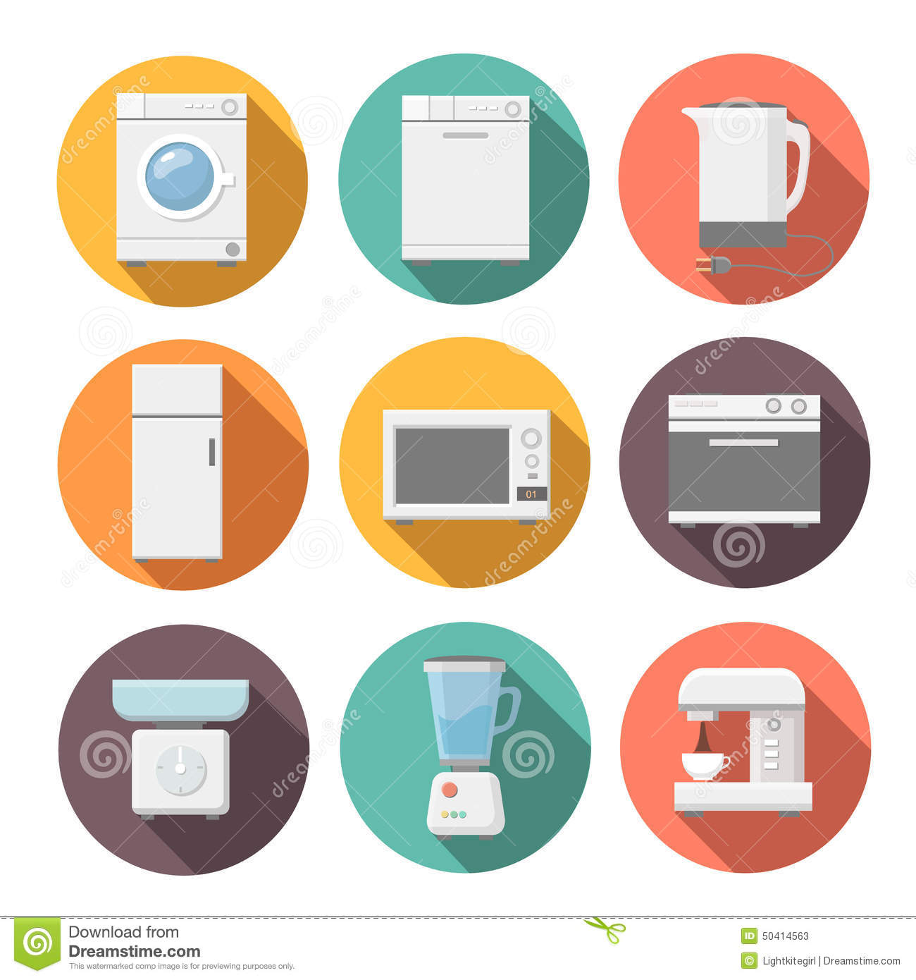 Set Of Household Appliances Flat Icons On Colorful Stock
