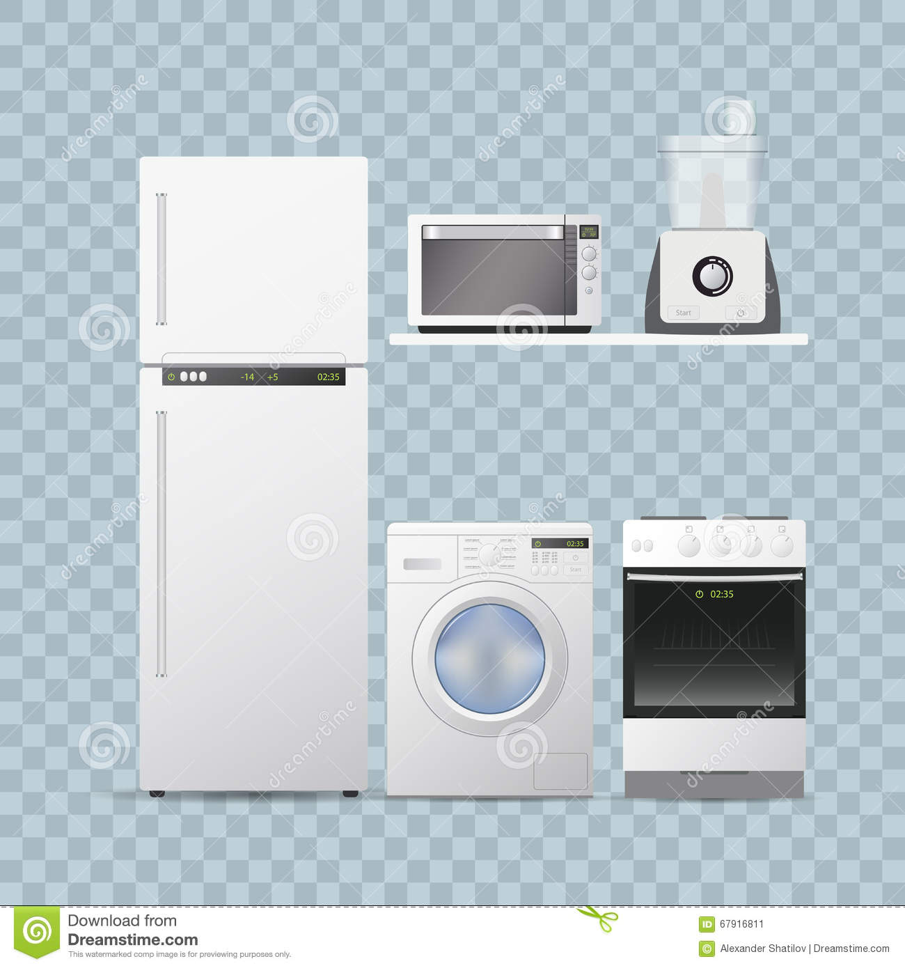 Set Household Appliances For Kitchen Transparent Background Realistic Vector Illustration