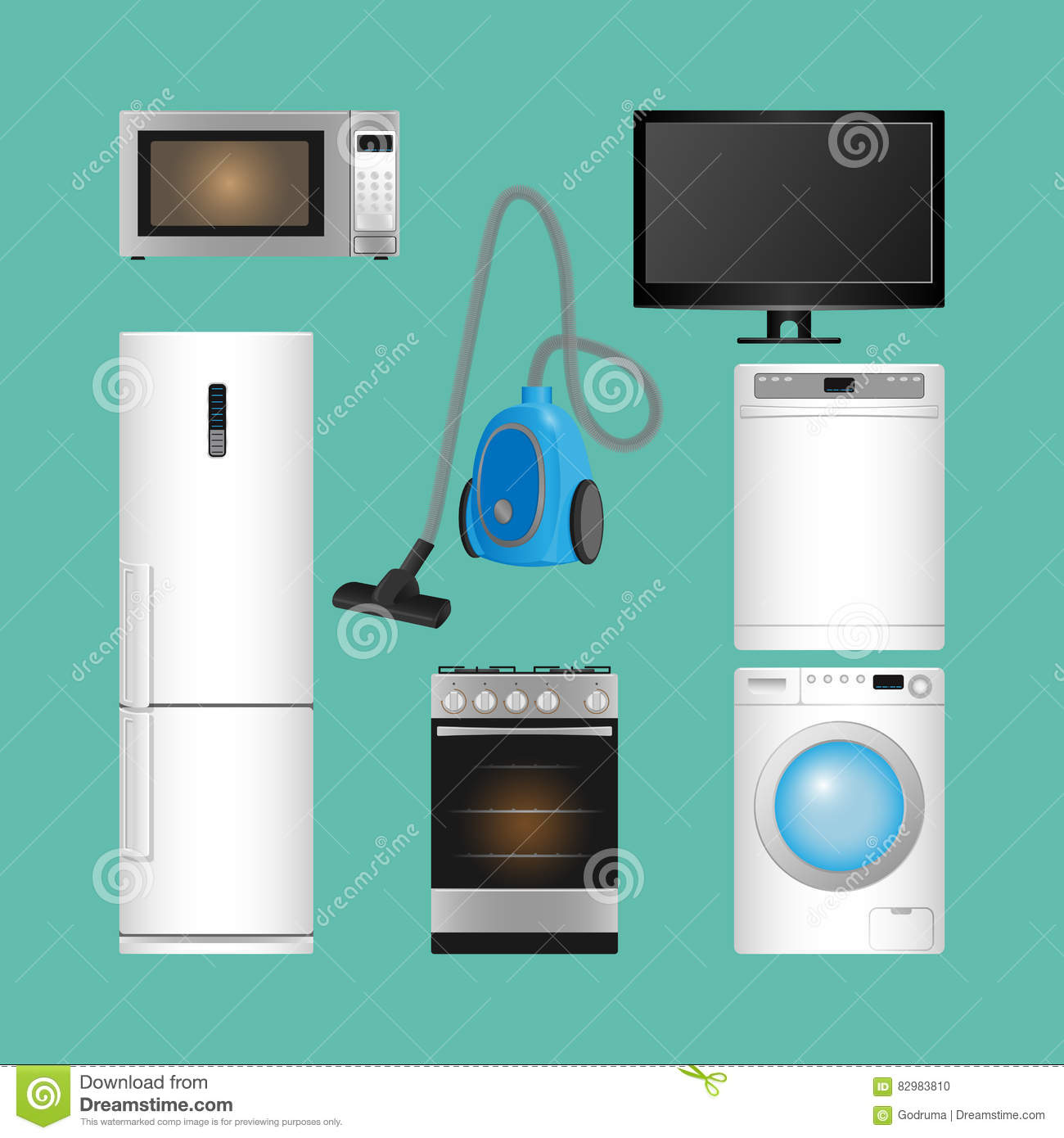 Set Of Household Appliances. Modern Kitchen Devices. Stock Vector ...