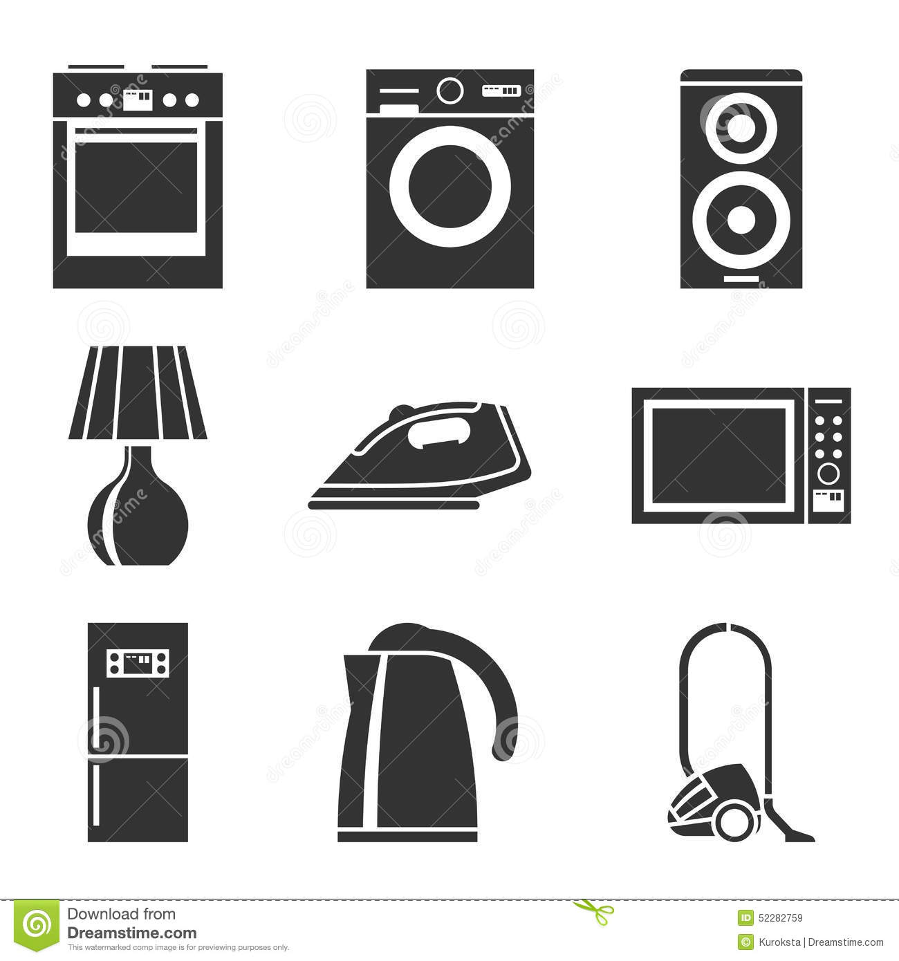 Stock Illustration Set Household Appliances Silhouette Icons Washing Machine Stove Fridge Speaker Iron Microwave L  Television Kettle Image52282759 on 1 bedroom home plans
