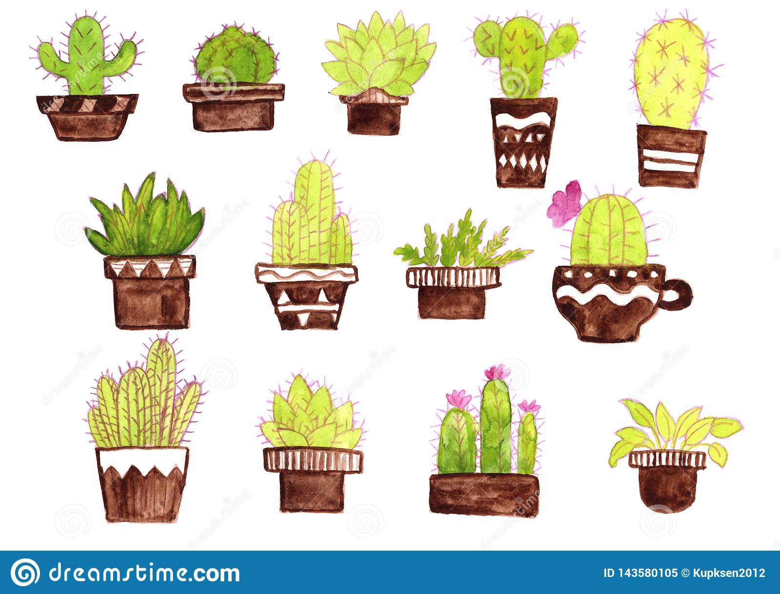 Houseplants Cactus Succulent Set Collection In Pot Watercolor Green Brown Drawing Stock Illustration Illustration Of Succulent Isolated 143580105