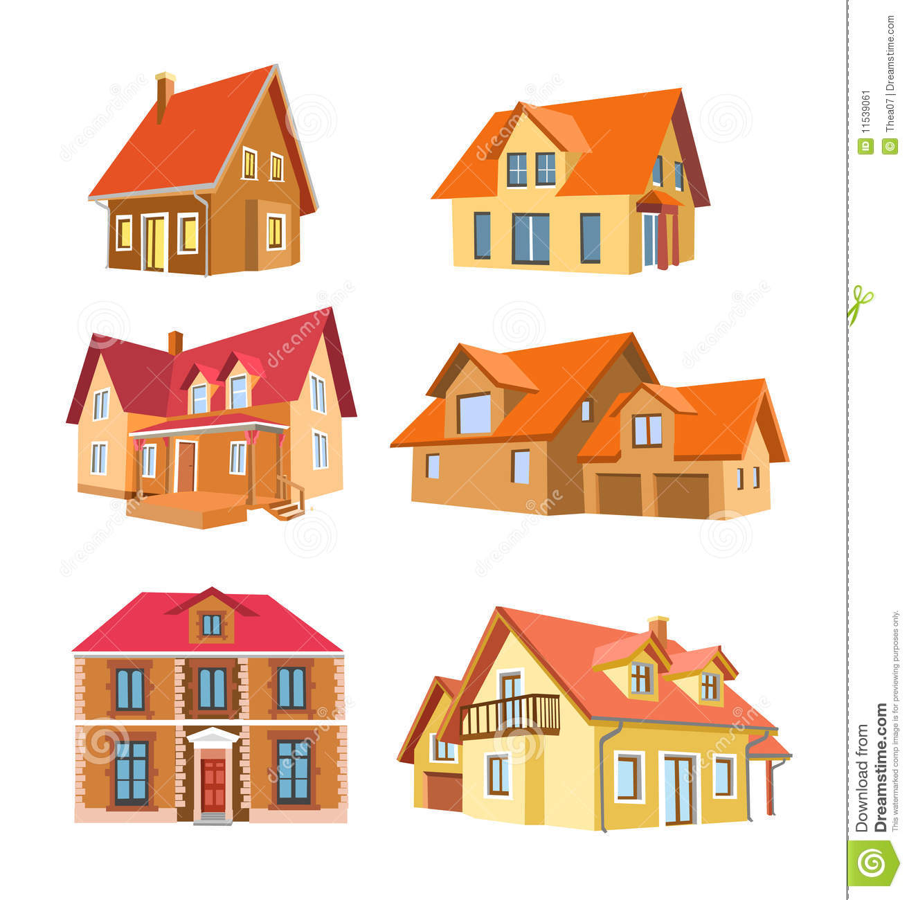 Set Of Houses Stock Vector Illustration Of House Roof
