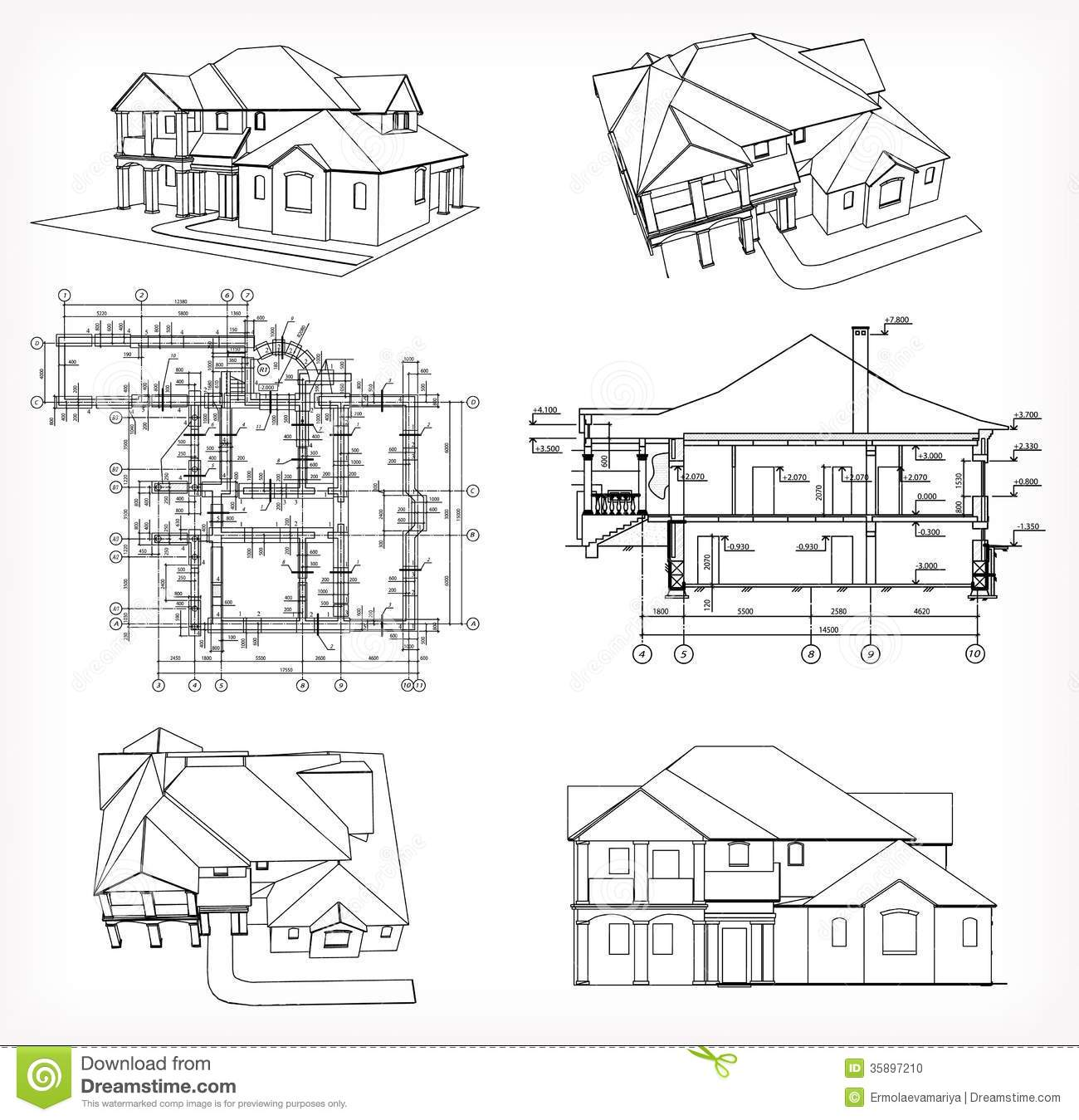 Front Elevation Blueprint : Set houses and blueprint vector stock
