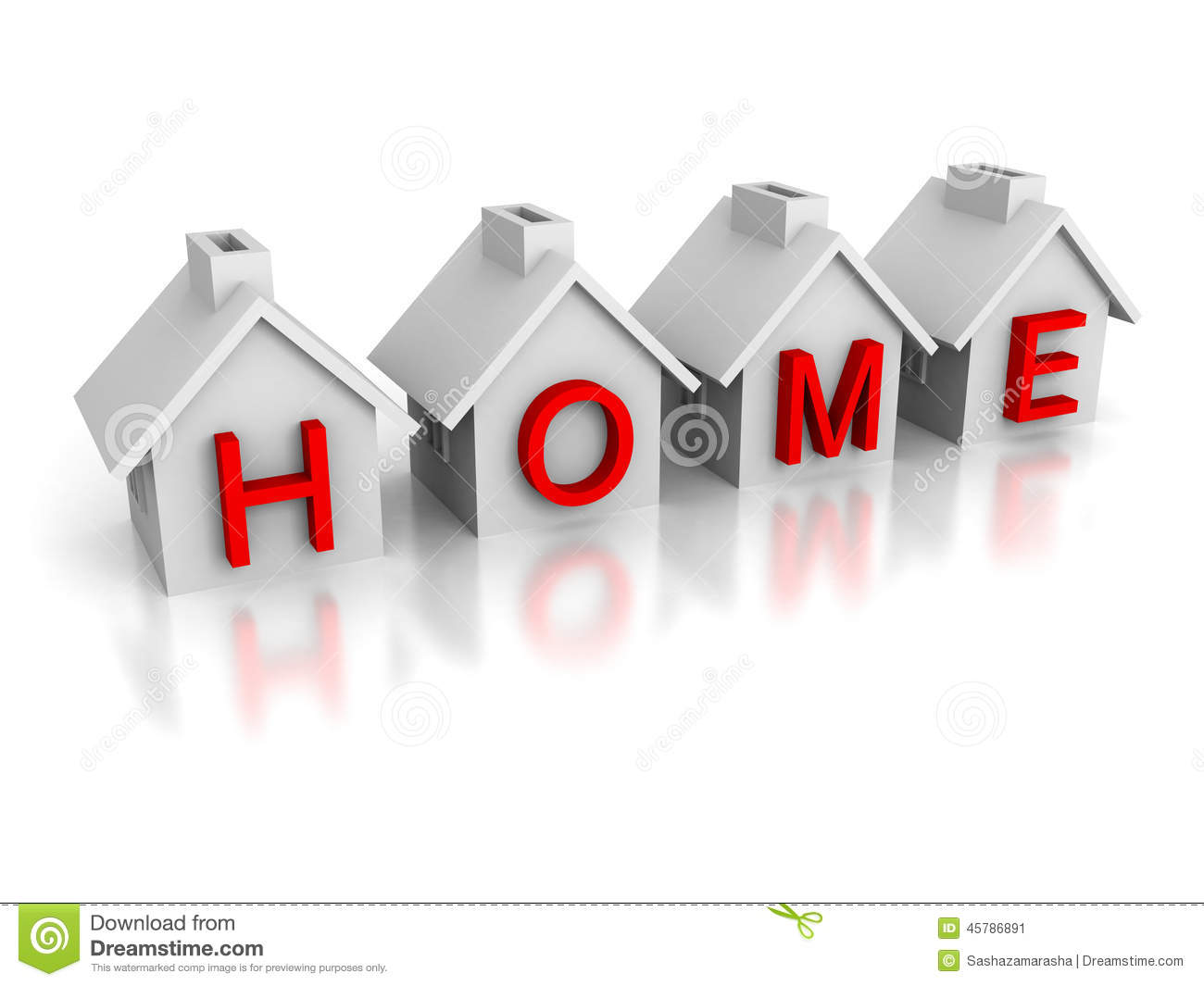 Set of houses with red text home word stock illustration for Home styles com