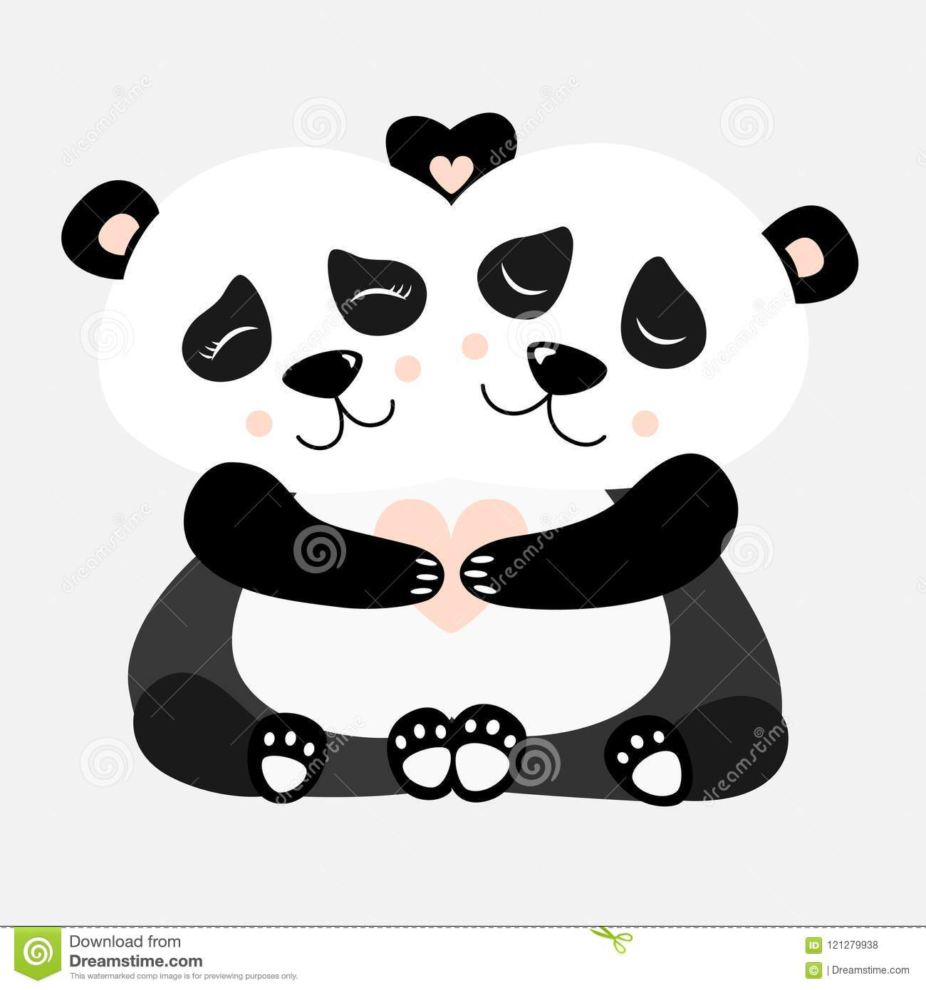 Hugging Panda Postcard Vector illustration