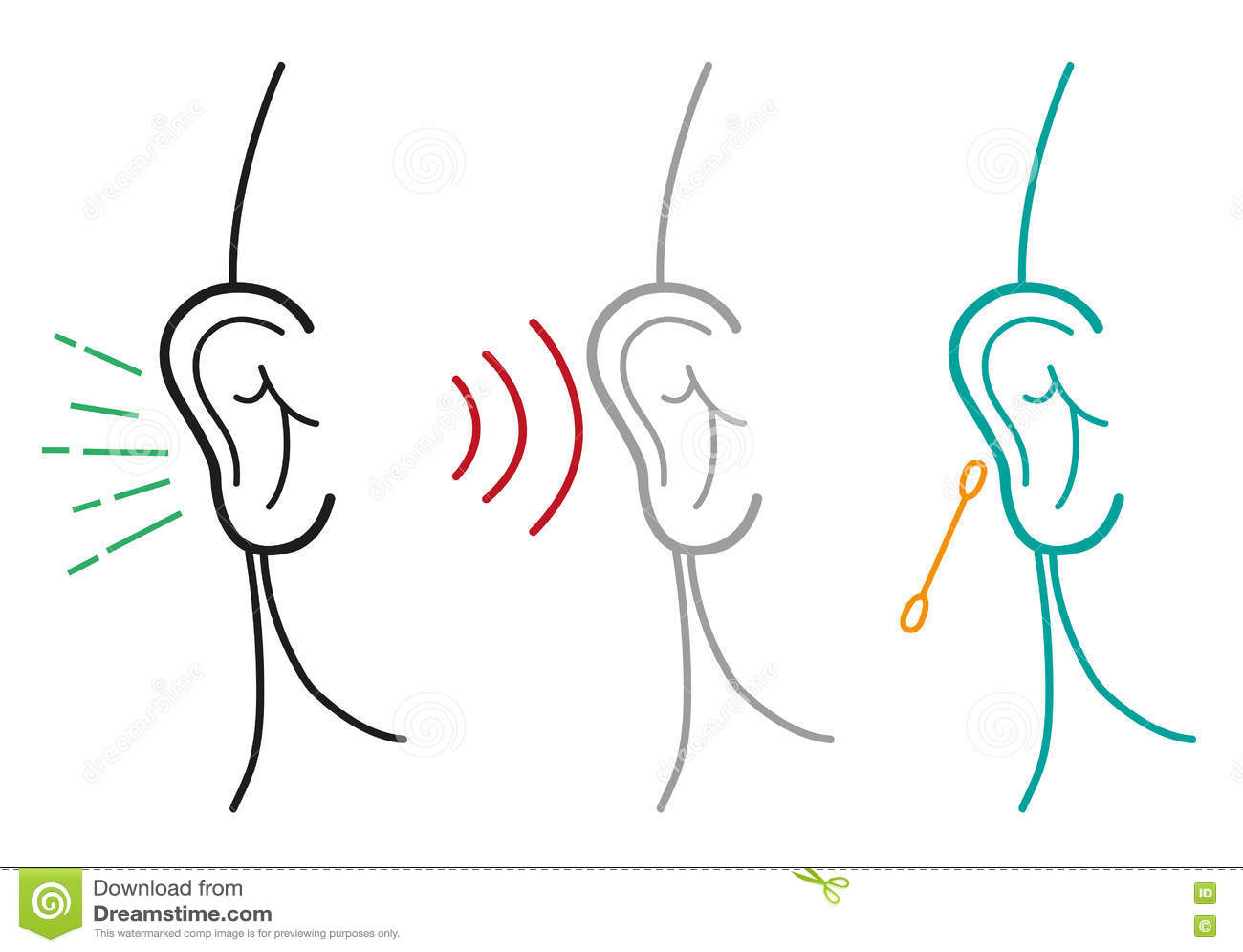 set of human ear illustration in outline art style editable clip