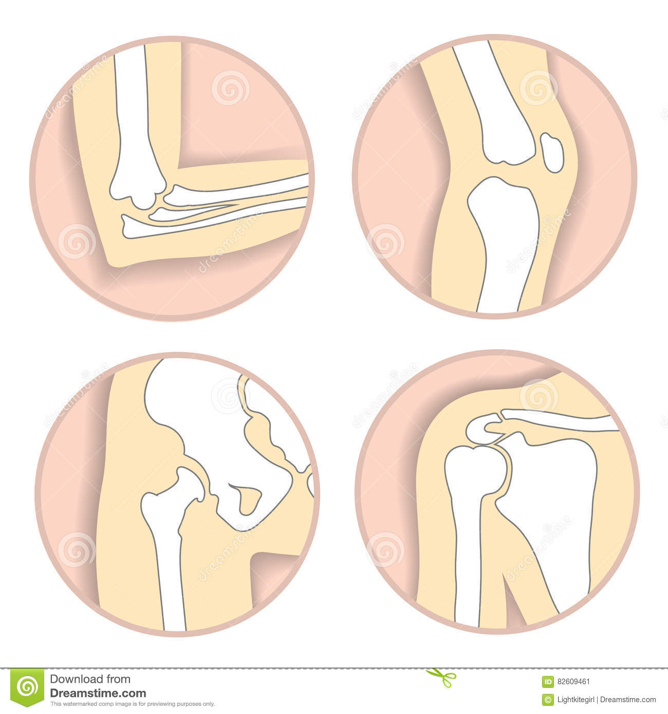 Set Of Human Joints Elbow Knee Hip Joint Stock Vector