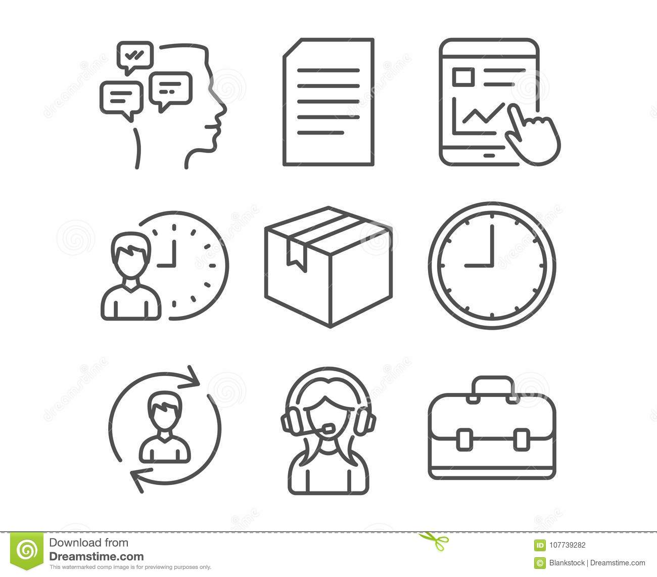 human resources document and support icons messages time and