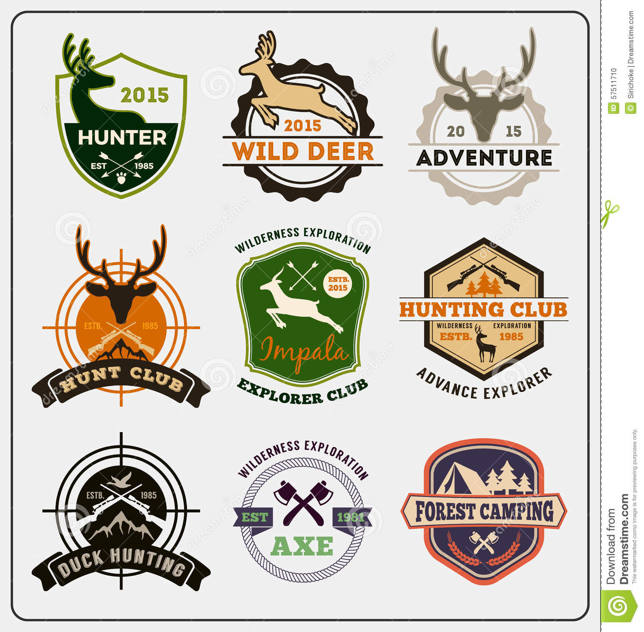 Set Of Hunting And Adventure Badge Logo Design Stock ...