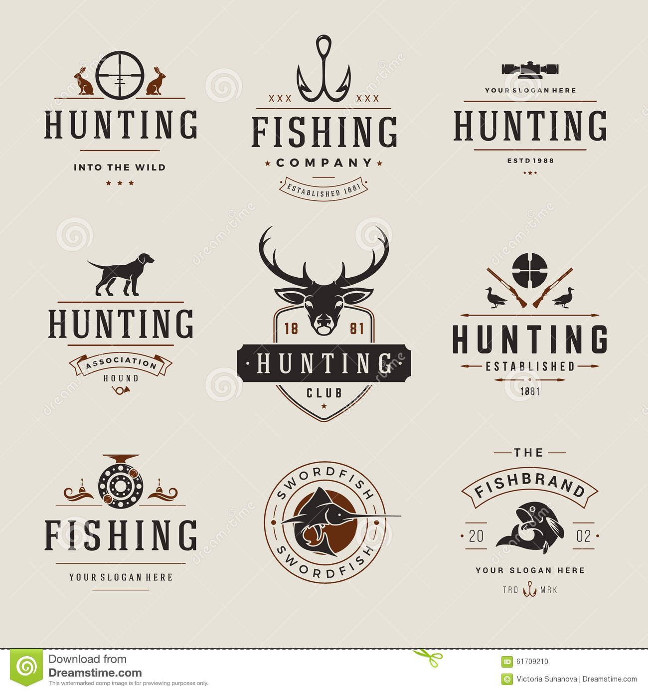 Set of hunting and fishing labels badges logos stock for Hunting and fishing times